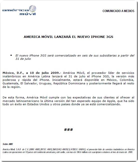 American Movil Nota de Prensa lanzamiento Iphone 3gs