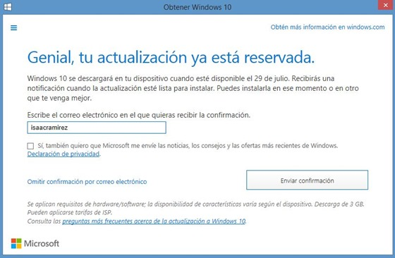 windows 10 confirmacion