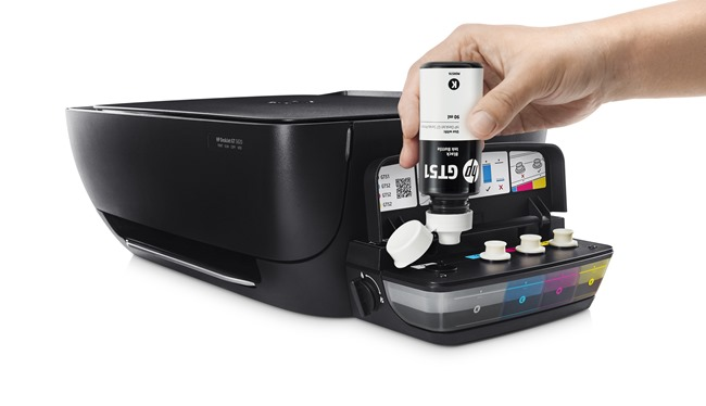 HP DeskJet GT Series Ink Bottles (Black) with HP DeskJet GT 5820 All-in-One Printer WL, In use refilling printer